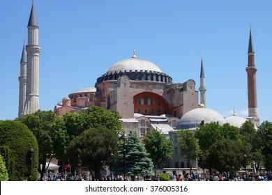 ISTANBUL, TURKEY - MAY 16, 2014 - Tourists before Hagia Sophia, in Istanbul, Turkey