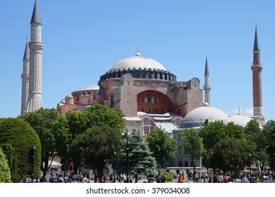 ISTANBUL, TURKEY - MAY 16, 2014 - Tourists before Hagia Sophia,  in a teahouse  in Istanbul, Turkey