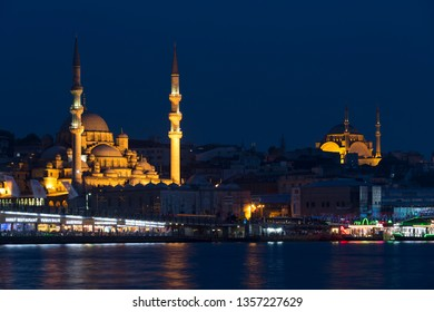 ISTANBUL, TURKEY - MAY 16, 2015: Night view of Istanbul, New mosque Valide Sultan and mosque Suleymaniye. Turkey