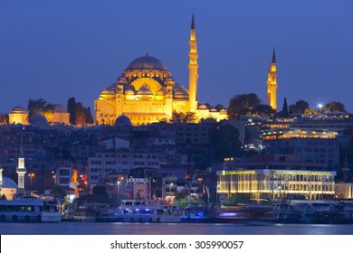 ISTANBUL, TURKEY - MAY 16, 2015: The historical center of Istanbul and Sulaymaniyah mosque in the night. View from the Golden Horn
