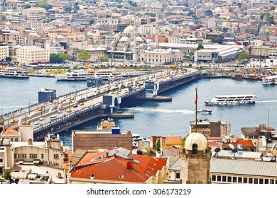 ISTANBUL, TURKEY - MAY 16, 2015: Panoramic view of Golden Horn from Galata tower, Istanbul, Turkey