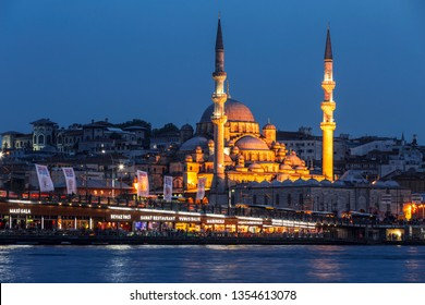 ISTANBUL, TURKEY - MAY 16, 2015:Stambul. Night view of the New Mosque Valide Sultan. Turkey
