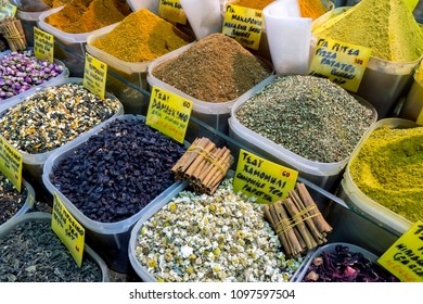 ISTANBUL, TURKEY - MAY 17, 2011 : A colourful variety of spices and teas for sale at a store within the Spice Bazaar in the Eminonu district of Istanbul in Turkey.