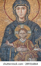 ISTANBUL, TURKEY - MAY 17, 2014 -Madonna and child, Byzantine mosaic in the gallery of Hagia Sophia,  in Istanbul, Turkey