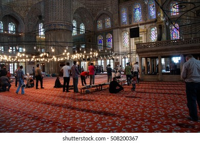 ISTANBUL, TURKEY - MAY 17, 2014 - Afternoon prayer in  Sultan Ahmet Camii ( Blue Mosque ) in Istanbul, Turkey