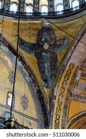 ISTANBUL, TURKEY - MAY 17, 2014 - Archangel in spandrel  of Hagia Sophia in Istanbul, Turkey