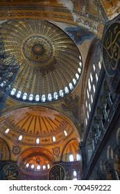 ISTANBUL, TURKEY - MAY 17, 2014 - Interior  of Hagia Sophia in Istanbul, Turkey