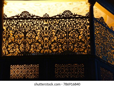 ISTANBUL, TURKEY - MAY 17, 2014 - Intricate carved balcony panels  of Hagia Sophia in Istanbul, Turkey