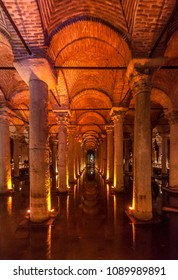 Istanbul, Turkey - May 18, 2011 : The Basilica Cistern interior view in Istanbul City. Istanbul is populer tourist destination in Turkey.