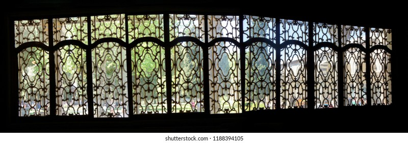 ISTANBUL, TURKEY  - MAY 18, 2014 - Window grills of the Sultan's Divan  in Topkapi Palace,  in Istanbul, Turkey