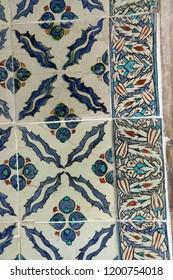 ISTANBUL, TURKEY  - MAY 18, 2014 - Elaborate Iznik mosaic tile work of the Harem  in Topkapi Palace,  in Istanbul, Turkey