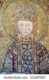 ISTANBUL, TURKEY - MAY 18, 2014 - Empress Eirene,  Byzantine mosaic in the gallery of  Hagia Sophia  in Istanbul, Turkey