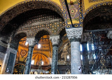 ISTANBUL, TURKEY - MAY 18, 2014 - Deeply undercut Corinthian columns of  Hagia Sophia  in Istanbul, Turkey