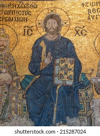 ISTANBUL, TURKEY - MAY 18, 2014 - Christ enthroned,  Byzantine mosaic in the gallery of  Hagia Sophia  in Istanbul, Turkey