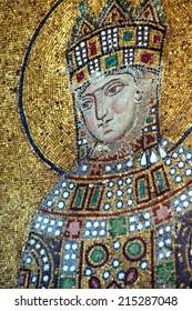 ISTANBUL, TURKEY - MAY 18, 2014 - Empress Zoe,  Byzantine mosaic in the gallery of  Hagia Sophia  in Istanbul, Turkey