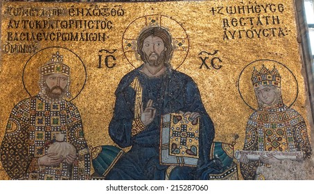 ISTANBUL, TURKEY - MAY 18, 2014 - Christ enthroned, flanked by Empress Zoe and her 3rd husband Constantine IX Monomachus, Byzantine mosaic in the gallery of  Hagia Sophia  in Istanbul, Turkey