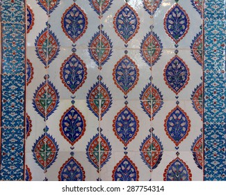ISTANBUL, TURKEY  - MAY 18, 2014 - Intricate Iznik mosaic tile work  for the tomb of Selim II,  in Istanbul, Turkey