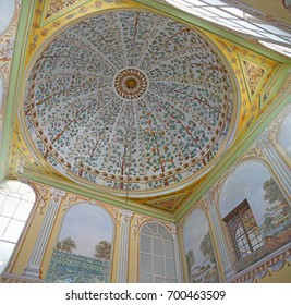 ISTANBUL, TURKEY  - MAY 18, 2014 - Dome of the Divan reception room in the harem  in Topkapi Palace,  in Istanbul, Turkey