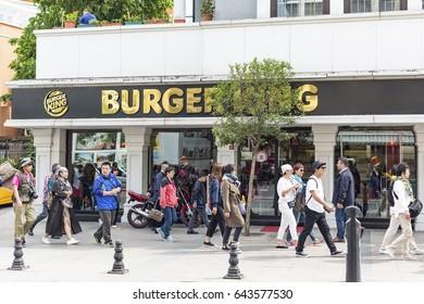 Istanbul, Turkey - May 18, 2017: Burger King hamburger restaurant Sultanahmet.