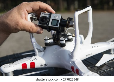 ISTANBUL, TURKEY - MAY 19 ,2015: Drone quadrocopter Dji Phantom 2 with digital camera GoPro HERO4 Black edition. New tool for aerial photo and video.