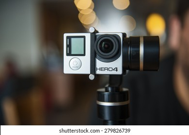 ISTANBUL, TURKEY - MAY 19 ,2015: Gopro action camera. Shot of GoPro Hero 4 Black.It is a compact, lightweight personal camera manufactured by GoPro Inc.