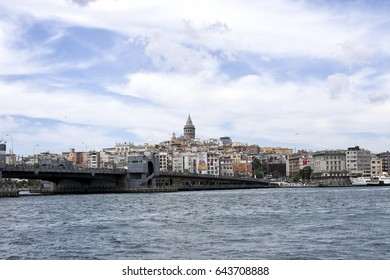 Istanbul, Turkey - May 19, 2017: Istanbul cityscape of quay at Galata Tower.
