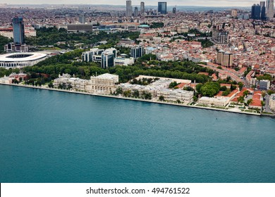 Istanbul, Turkey - May 2, 2016 : Dolmabahce palace, Istanbul from air