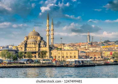 Istanbul, Turkey - May 20, 2011 : Yeni Mosque view from sea in Istanbul. İstanbul is populer tourist destination in Turkey.
