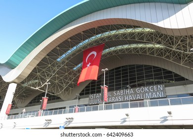 ISTANBUL, TURKEY - MAY 20, 2016: Exterior of the Sabiha Gokcen International Airport (SAW) in Istanbul, Turkey. More than 32 million tourists visit Turkey each year.