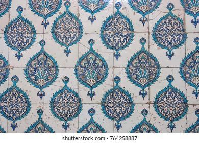 ISTANBUL, TURKEY - MAY 20, 2016: Ancient hand made Turkish - Ottoman tiles, in Topkapi palace, Istambul, Turkey