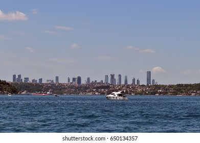 Istanbul, Turkey - May 20, 2017: Views of skyscrapers from the Bosphorus