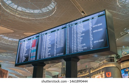 Istanbul, Turkey - May 2019: Flight information display in new Istanbul Airport displaying the upcoming flights