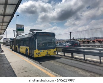 ISTANBUL, TURKEY, May  2019; Metrobus, a part of public transportation system, eases the traffic in Istanbul. Istanbul public transport, vehicle called Metrobus goes own way with non traffic.