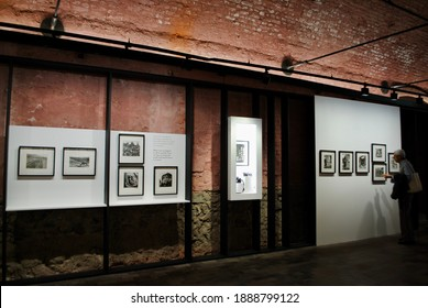 Istanbul Turkey. May 2019. Photography art lover mature man visits Ara Guler Museum. This museum showcases the legend photographic and personal material collected over a 70 year career.