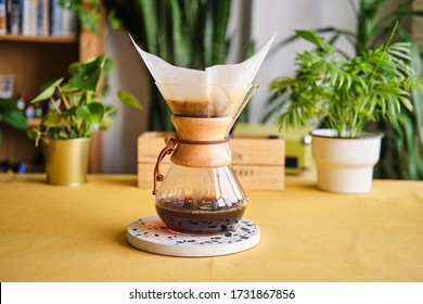 Istanbul, Turkey / May 2020 / Chemex filter coffee brewing method. Brewing coffee at home. Concept for home baristas.