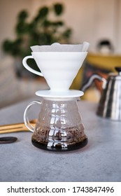 Istanbul / Turkey May 2020. Making pour-over coffee with a hario V60 dripper. Hario V60 is a special coffee brewing method. Concept for coffee brewing.