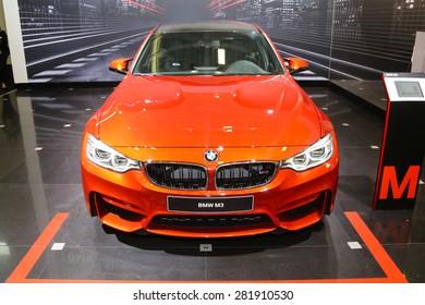 ISTANBUL, TURKEY - MAY 21, 2015: BMW M3 in Istanbul Autoshow 2015