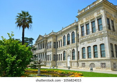 Istanbul, Turkey. May 22, 2013. Exterior view of the historic, baroque, rococo and  new-classical architecture Dolmabahçe Palace located on the European coast of Bosporus and dated in 1843.