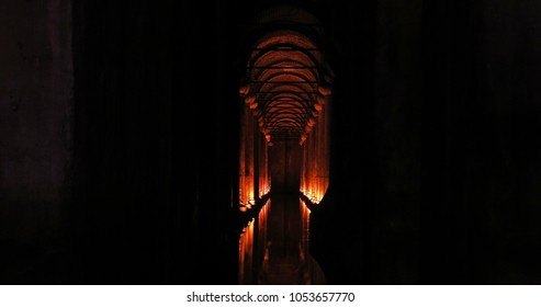 ISTANBUL, TURKEY - MAY 22, 2016 - The Basilica Cistern - underground water reservoir build by Emperor Justinianus in 6th century, Istanbul, Turkey