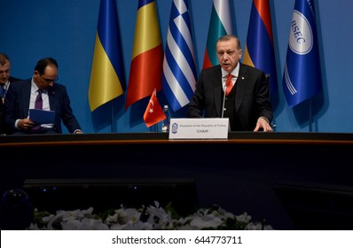 Istanbul, Turkey. May 22nd 2017 - 25th Anniversary Summit of the Black Sea Economic Cooperation (BSEC). Turkish President Reccep Tayyip Erdogan have a speech