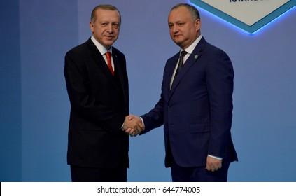 Istanbul, Turkey. May 22nd 2017 - Turkish President Recep Tayyip Erdogan welcomes Moldovan President Igor Dodon at the 25th anniversary Summit of the Black Sea Economic Cooperation (BSEC)