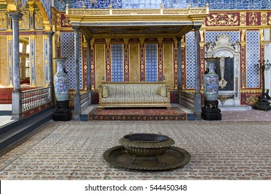 ISTANBUL, TURKEY - MAY 23, 2015: Room in the harem section of the Topkapi Palace, in Istanbul, Turkey.