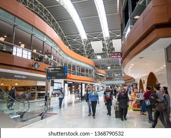 ISTANBUL, TURKEY - MAY 23, 2016: Unidentified people in Departure Hall of Sabiha Gokcen International Airport (SAW) in Istanbul, Turkey. More than 32 million tourists visit Turkey each year.