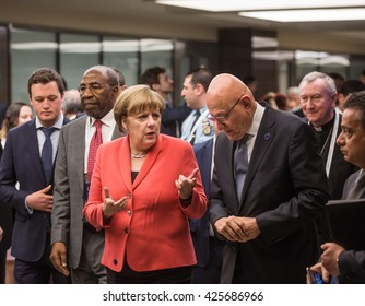 ISTANBUL, TURKEY - May 23, 2016:  German Chancellor Angela Merkel and Prime Minister of Lebanon Tammam Salam during World Humanitarian summit in Istanbul