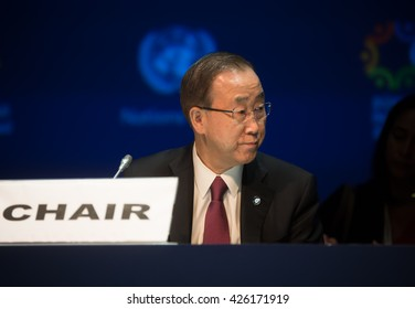 ISTANBUL, TURKEY - May 23, 2016: UN Secretary General Ban Ki-moon during World Humanitarian summit in Istanbul