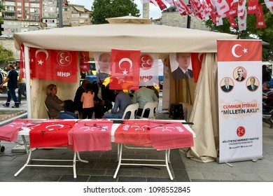 ISTANBUL, TURKEY - MAY 23, 2018: A view from stands and tents for Turkish general election campaign in Besiktas. Turkish Presidency and parliamentary elections to be held in June 2018.