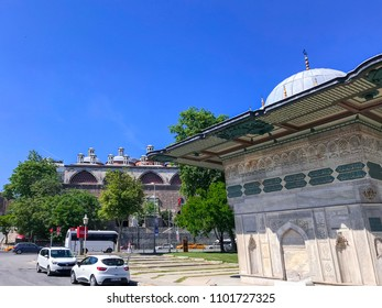 Istanbul, Turkey - May 23, 2018: Kiliac Ali Pasha fountain, an old Ottoman Empire structure near Kilic Ali Pasha Mosque, Tophane, Istanbul.