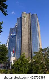 Istanbul, Turkey - May 24, 2016: Headquarters building of KuveytTurk, a Turkish-Arab finance corporation in Esentepe, Istanbul.