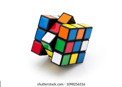 ISTANBUL - TURKEY - MAY 24, 2018: Rubik's cube on the black background. Rubik's Cube invented by a Hungarian architect Erno Rubik in 1974.