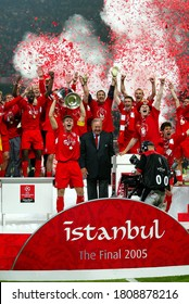 Istanbul, TURKEY - May 25, 2005:  Captain Steven Gerrard lifts the trophy at the ceremony following the UEFA Champions League final 2004/2005 AC Milan v Liverpool at the Ataturk Olympic Stadium.